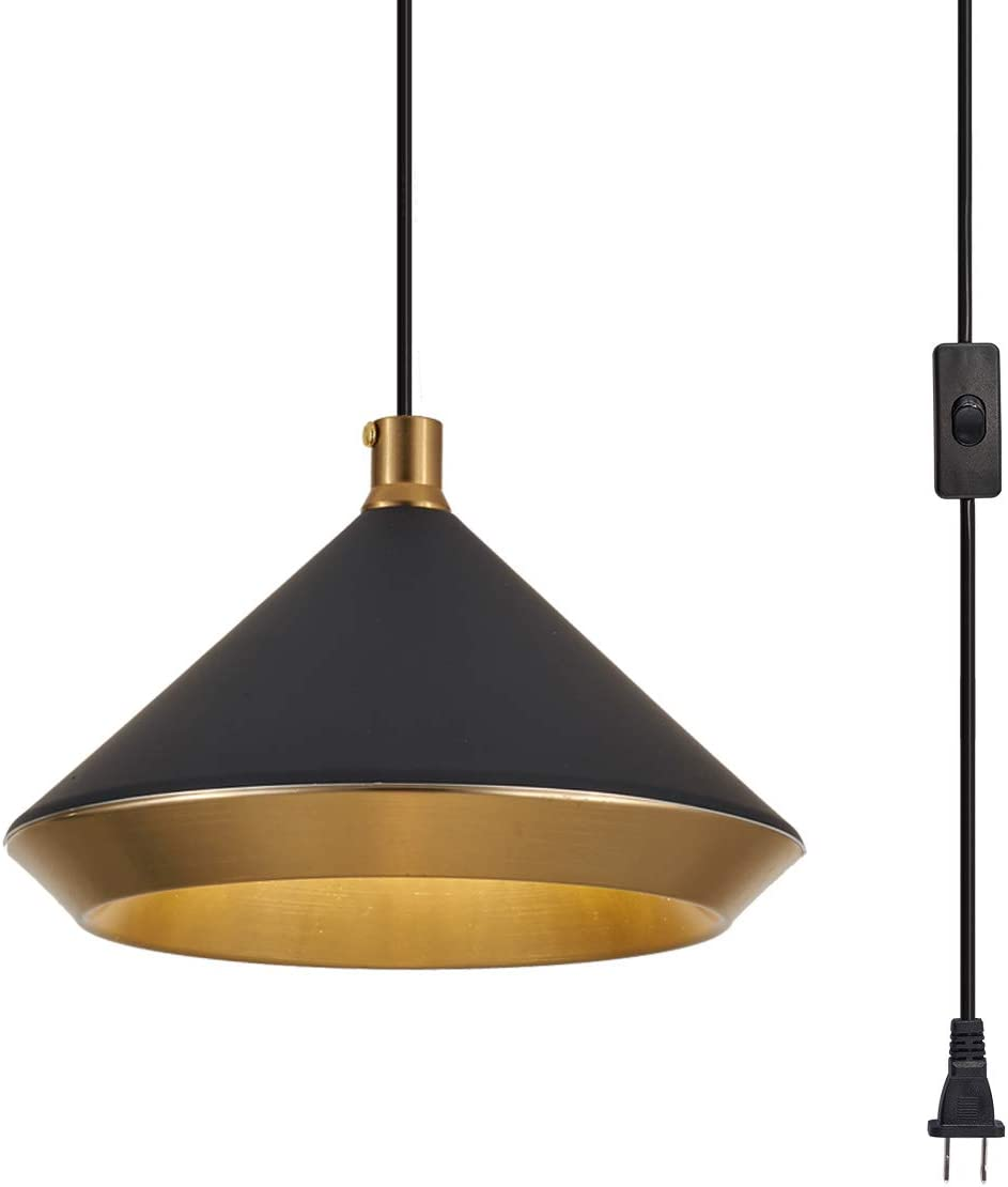 YLONG-ZS Hanging Lamps Swag Lights Plug in Pendant Light 16.4 FT Cord and Chain Hanging Pendant Light Cage in-Line On Off Switch for Kitchen Island, Dining Room, Entryway