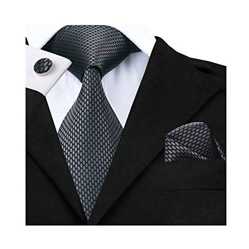 Designer Tie Plaid Silk Hanky Cufflinks Set Dark Grey Fashion Pattern Formal Business by Barry.Wang