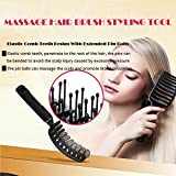 Vented Detangling Hair Brushes Styling Tools, Curved Rubber Scalp Message Ball, Suitable for Mostly Adults Children Straight Curly Tangled Hair,  Fast Easy Blow Drying (Black)