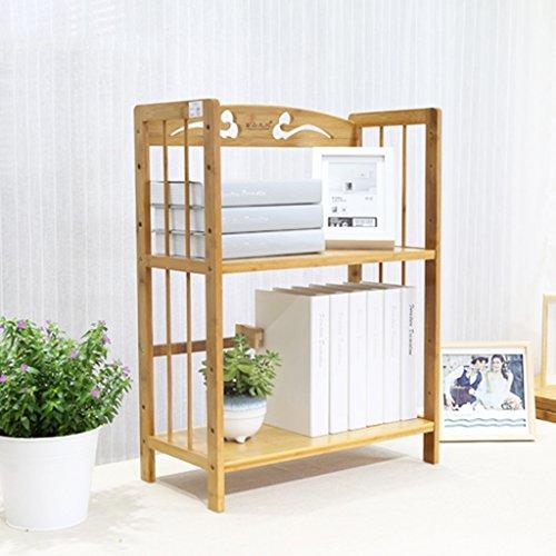 Yxsd Environmental Protection Bamboo Two-Story Small Bookshelf, Office Desk Simple Bookcase Racks (50 25 56cm) (Bracket Slot Twin)
