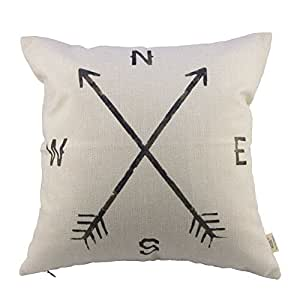 Oliadesign Compass Cotton Linen Pillow Cover, 17.3 x 17.3-Inch