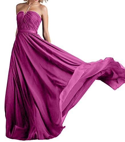 Chiffon Linie Rock Pink Lang Abendkleider A Braut Marie La Traegerlos Brautjungfernkleider Traube Partykleider tHW1Rw4qvO