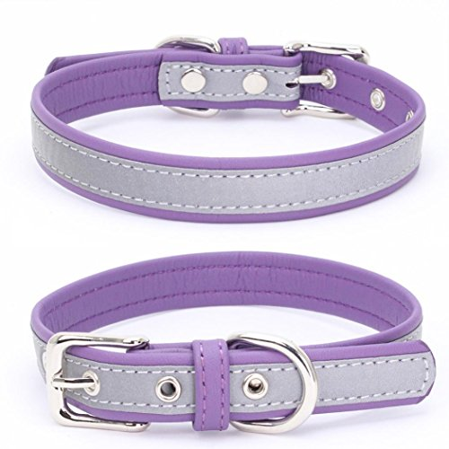 Pet Collars,Cool Adjustable Doggy Choker Reflective Microfiber Dog Necklace Axchongery (S = 371.5CM, Purple)