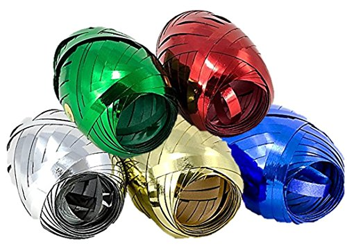 Metallic Crimped Curling Ribbon - Five Assorted Colors: Red, Blue, Silver, Gold, and Green (Metallic Ribbon Blue)