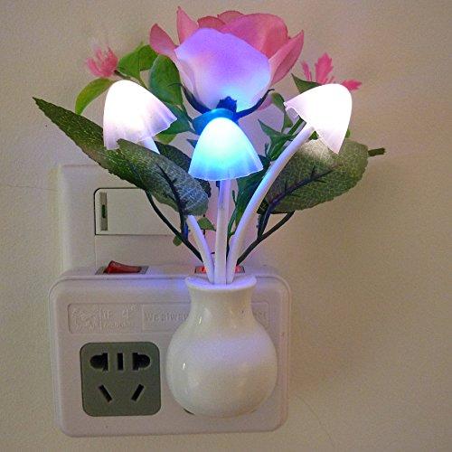 Creative Three Bulbs LED Mushroom Night Light Bedroom Decoration Light Lamp