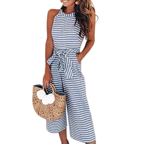 NEWCOSPLAY Women's Striped Sleeveless Waist Belted Zipper Back Wide Leg Loose Jumpsuit Romper with Pockets (S, (Floral Belted Romper)