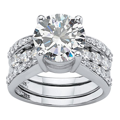 Platinum over Sterling Silver Round Cubic Zirconia Triple Row Jacket Wedding Ring Set Size 8