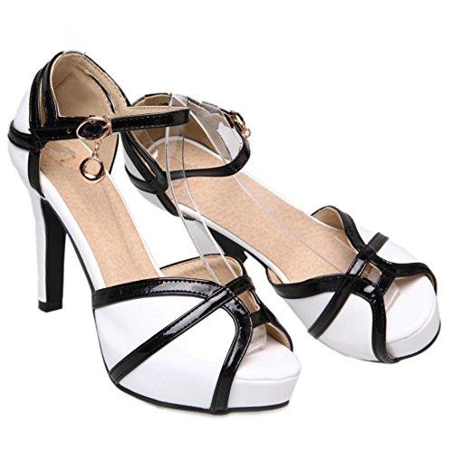 FANIMILA Mujer Moda Correa de tobillo Plataforma Sandalias Chic Tacon alto Delgado Peep Toe Zapatos Blanco