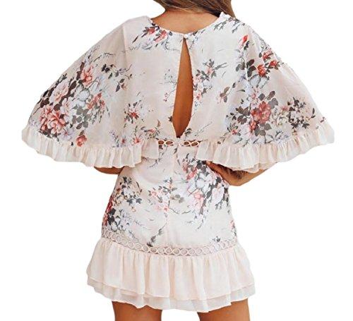 Balze Vestito Floreale Coolred Manica Breve Fuori Pattern1 A Punto Scavano Svolazzano donne 4yqT7f