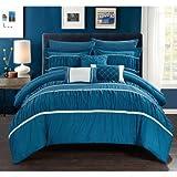 Bed Comforter Sets Wanda 10-Piece Wanda Bed in a Bag Bedding Comforter Set - Queen / Teal