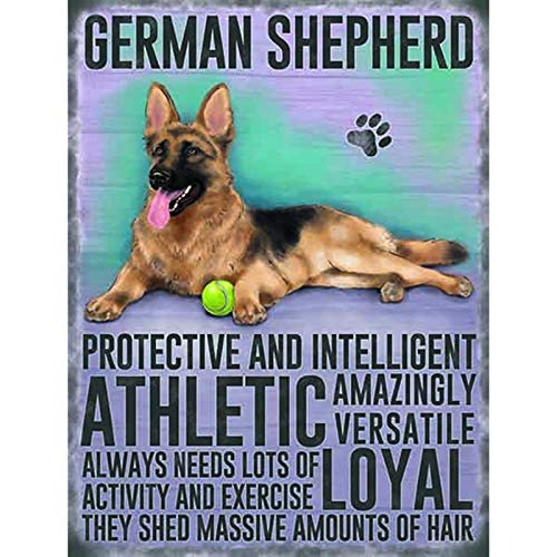 (German Shepherd Dog Tin Wall Signs Warning Sign Metal Plaque Poster Iron Painting Art Decoration for Bar Café Hotel Office Bedroom Garden)