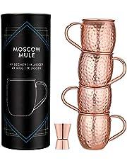 Navaris Moscow Mule Set 5 stycken – 4 x kopparkoppar och 1 x jigg för moskva mule gin öl – mugg cocktailmugg barmått – hamrad kopp