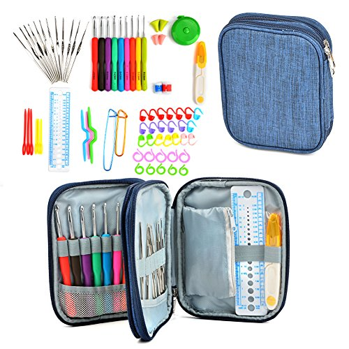TIMESETL 72Pack Ergonomic Crochet Kit, Painless Soft Grip Crochet Hooks 2-6mm, Aluminum Knitting Needle 0.6-1.9mm, Complete Accessories with Double Zipper Case for Beginner