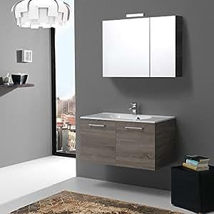 kiamami valentina muebles de ba o de 90 cm con puertas en boston truffle espejo caja. Black Bedroom Furniture Sets. Home Design Ideas