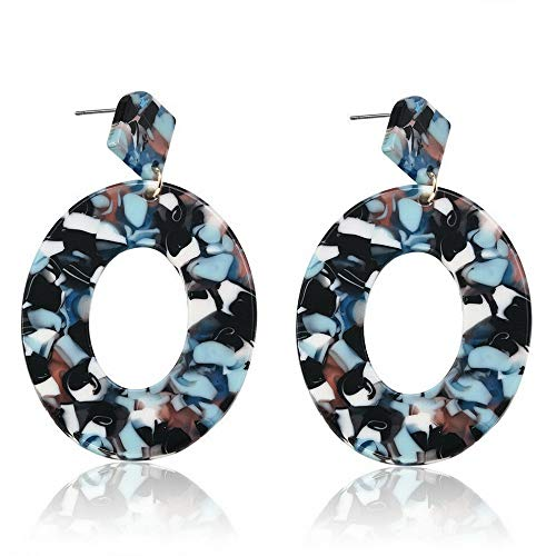 Wausa Boho Geometric Women Dangle Drop Hook Acrylic Resin Ear Stud Earrings Jewelry | Model ERRNGS - 10443 |