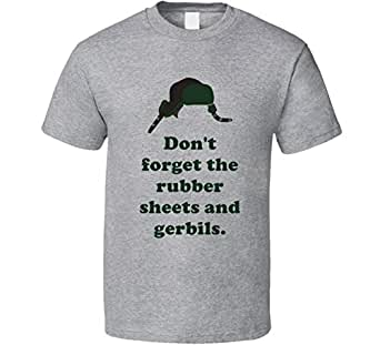 Rubber Sheets and Gerbils Movie Holidays Christmas Vacation Ed's Hat Quotes T Shirt   Amazon.com