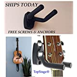TopStage Guitar Hangers Hook Holder Wall Mount Display - Fits Guitars, Bass, Mandolin, w/Mounting Hardware