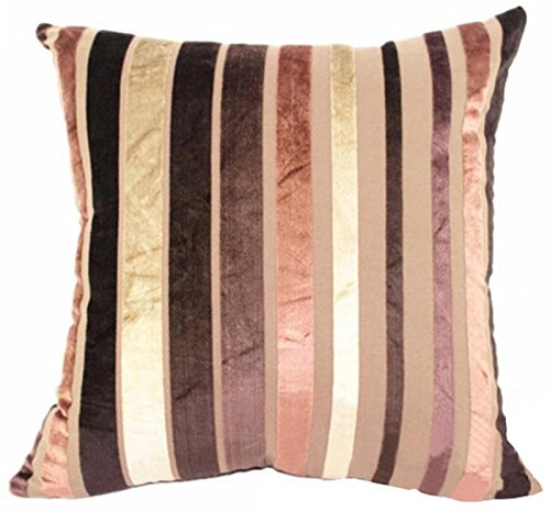 Throw Silk Velvet (Eazyhurry Velvet Stylish Striped Soft Cushion Cover with Invisible Zipper Vintage European Standard Size Cushion Sham Decorative Body Cushion Protector Pillow Case Brown 20