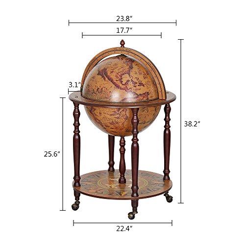 "Wood Globe Wine Bar Stand 16th Century Italian Rack Liquor Bottle Shelf Globe Diameter: 17.72"" (MG45003N)"