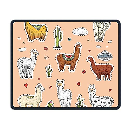 JTNF Cute Alpaca Llamas Or Wild Guanaco Personality Mouse Pad 7.08X8.66 inches with Design,with Stitched Edges,Non Slip Rubber G Mouse Pad