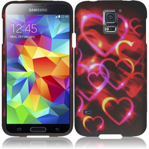 HR Wireless Samsung Galaxy S5 Rubberized Design Cover Case, Colorful Hearts ()