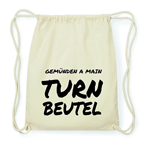 JOllify GEMÜNDEN A MAIN Hipster Turnbeutel Tasche Rucksack aus Baumwolle - Farbe: natur Design: Turnbeutel ZjmjwgPX7S