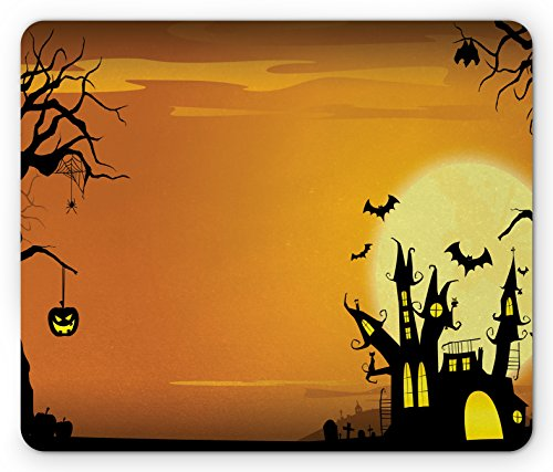 Ambesonne Halloween Mouse Pad, Gothic Haunted House Bats Western Spooky Night Scene with Pumpkin Drawing Art, Standard Size Rectangle Non-Slip Rubber Mousepad, Orange -