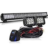 TURBO SII 36In Combo Led Light Bar On Canopy Roof Rack Brush Bar Grill Guard Roll Bar Push Bumper With 4In Pods Cube Driving Fog Lights For F350 Kawasaki Mule Tractor 4Wheeler Polaris Ranger Truck RTV