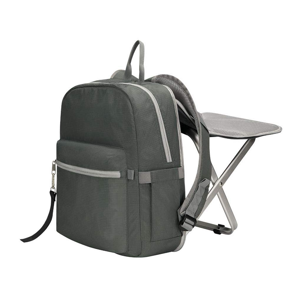 Oyria Multi-Functional Backpack Stool Combo,Large Capacity Backpack and Portable Folding Cooler Chair Folding Stool for Camping Fishing Hiking Picnic Outdoor,Grey