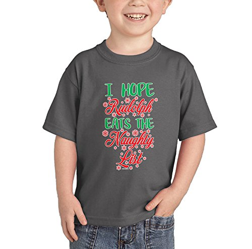 I Hope Rudolph Eats The Naughty List T-shirt (Charcoal, 24 Months) (List Popular Christmas Carols)