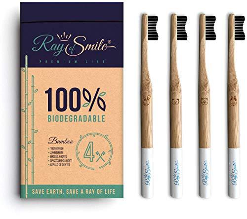 4er-Pack Holzzahnbürste aus nachhaltigem Bambus-Holz, weiche Borsten & leicht zu unterscheiden, plastikfrei verpackt…