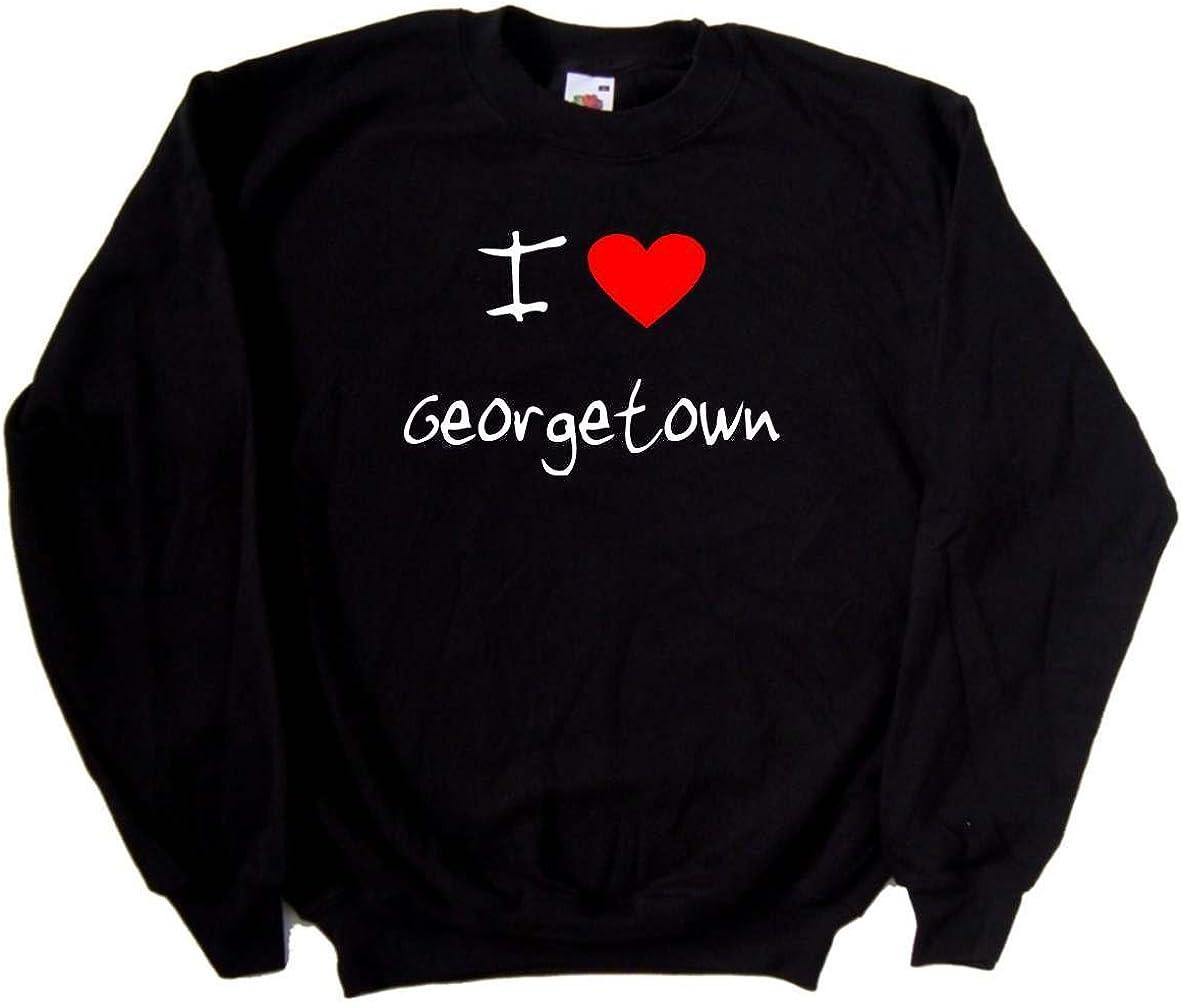 I Love Heart Georgetown Black Sweatshirt White Print -Small