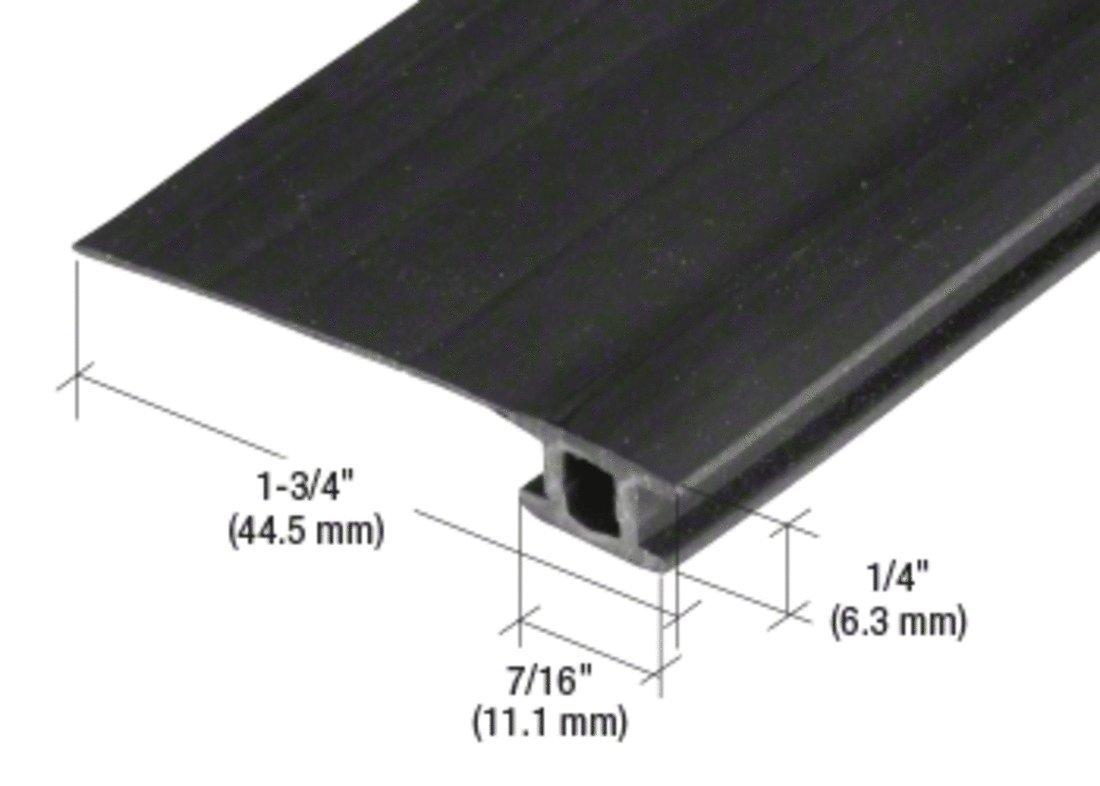 84'' Black Vinyl Adjustable Width Bug Strip, 1-3/4'' Max Width