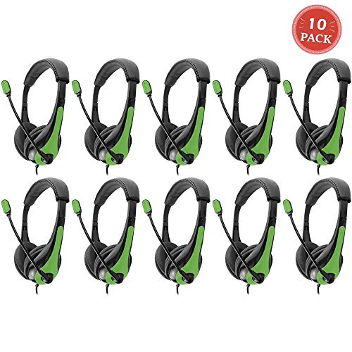 Avid AE-36 Green On-Ear Stereo Headphones with Boom Microphone (10-Pack)