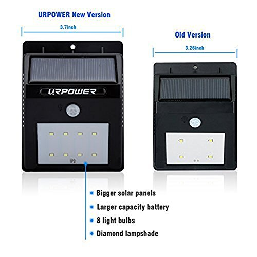 Patio Lights Wireless: URPOWER Solar Lights 8 LED Wireless Waterproof Motion