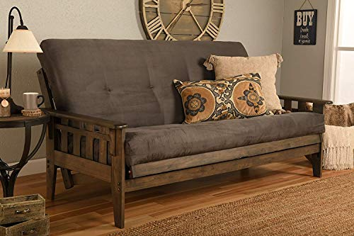 Jerry Sales Tucson Rustic Walnut Frame w/Choice to add Drawer Set, Wood Futon/Mattress NOT Included (Frame only (No Drawers) (No Mattress))
