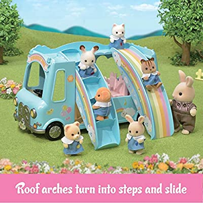 Calico Critters Sunshine Nursery Bus for Dolls, Toy Vehicle seats up to 12 collectible figures: Toys & Games