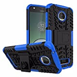 TARKAN Hard Armor Hybrid Rubber Bumper Kick Stand Back Case Cover For Moto Z Play [Blue]