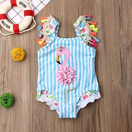 Karuedoo Baby Girl One Piece Swimsuit Off Shoulder Ruffled Flounce Bathing Suit Swimwear Beach Bikini