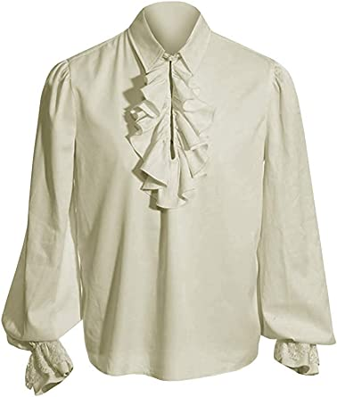 Mens Medieval Gothic Shirt Pirate Renaissance Costume Lace Cuff Cosplay Long Sleeve Tops