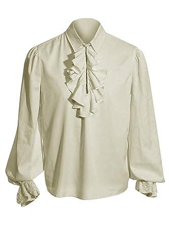 c60d08988e7b96 Amazon.com: Enjoybuy Mens Pirate Shirt Medieval Steampunk Ruffled Vampire  Shirts Cosplay Costume Scottish Jacobite Ghillie Tops: Clothing