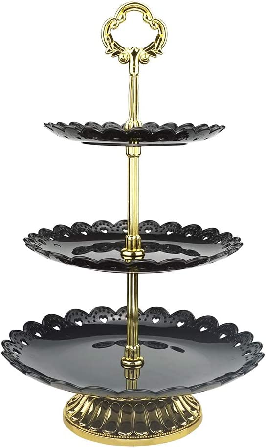 3-tier Black Plastic Dessert Stand Pastry Stand Cake Stand Cupcake Stand Holder with Base Serving Platter for Party Wedding Home Decor Gold
