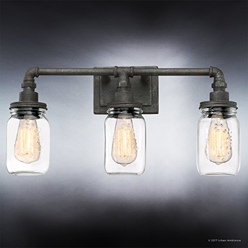 Luxury Industrial Bathroom Light, Medium Size: 11''H x 21.5''W, with Shabby Chic Style Elements, Aged Pipe Design, Antique Black Finish and Mason Jar With Floral Pattern, UQL2662 by Urban Ambiance by Urban Ambiance (Image #3)
