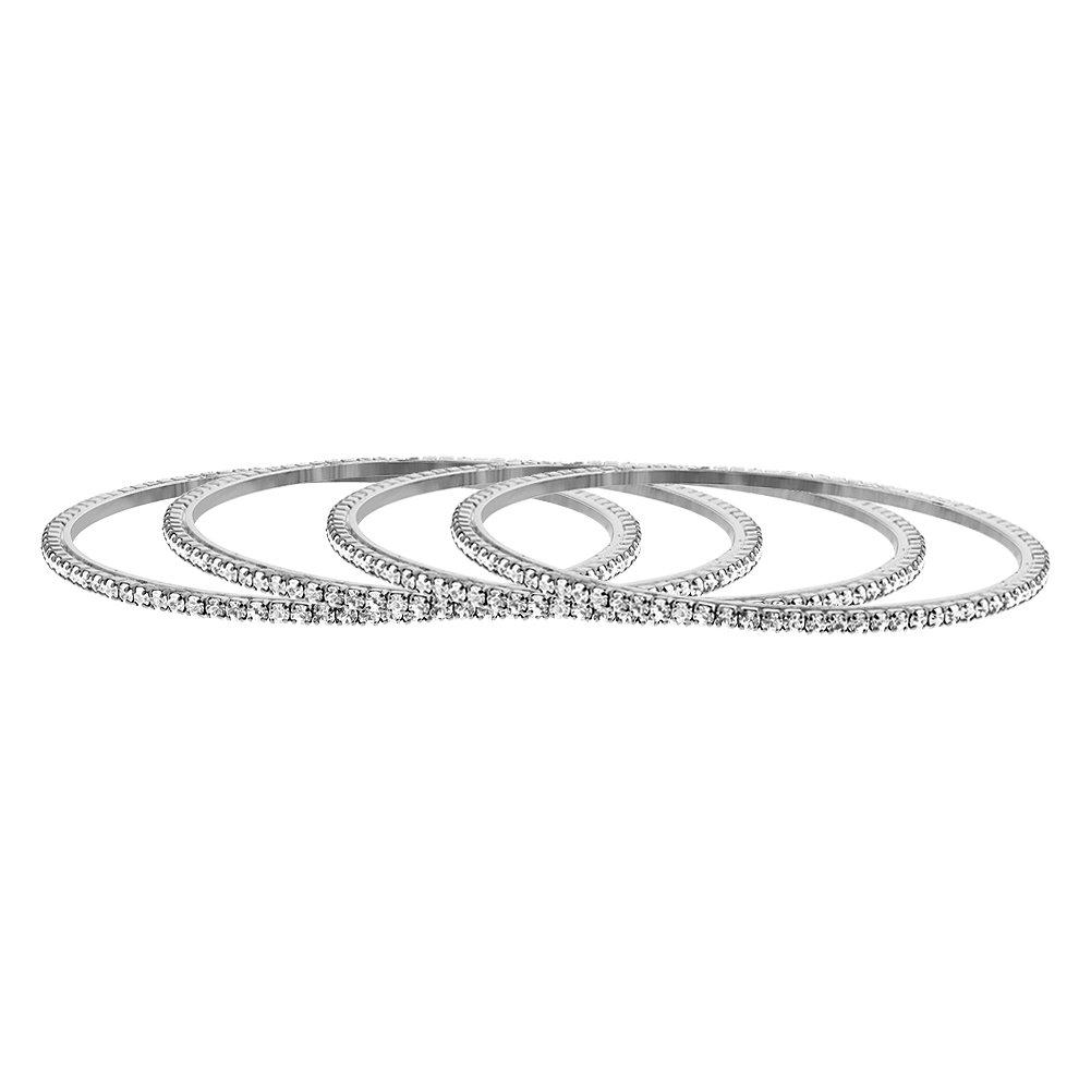Gem Avenue Silver Tone Cubic Zirconia Fancy Bollywood Indian Bangle Bracelets Size 2.6 Set of 4