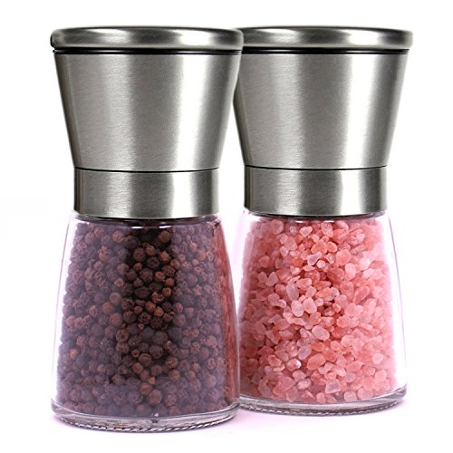 Brushed Stainless Steel Salt Mill and Pepper Grinder Set With Glass Bottle - Isa Cucina (Salt And Pepper Grinder Set Glass compare prices)