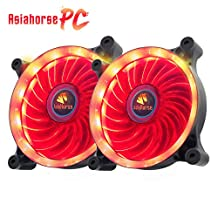 Asiahorse Solar Eclipse UAV 120mm Dual Aperture LED Long Life Case Fan,PC Custom Diy From Water Cooling System CPU Cooler 2PACK(RED)