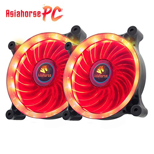 Asiahorse Solar Eclipse-Ultra Quiet Bearing 120mm DC Led Fan for Computer Cases, Long Life CPU Coolers 2PACK ()