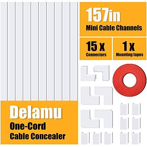 (One-Cord Cable Concealer, 157in Cord Cover, PVC Wire Molding, Paintable Wire Channel to Hide a Single Power Cord, Speaker Wire or TV Cables in Home or Office - 10X L15.7in, W0.59in, H0.4in)