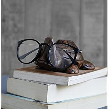 Wooden Turtle Eyeglass Spectacle Holder Handmade Stand For Office Desk Home Decor