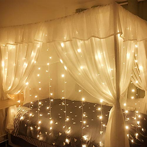 MZD8391 Curtain String Lights, 9.8 X 9.8ft 304 LED Starry Fairy Lights for Wedding, Bedroom, Bed Canopy, Garden, Patio, Outdoor Indoor (Warm White) by MZD8391 (Image #3)